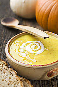 Baked Pumpkin and Sweet Potato Soup