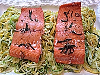 Rosemary Ginger Salmon over Zucchini Pasta